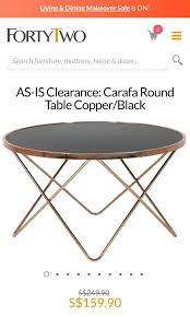 carafa round coffee table in rose gold