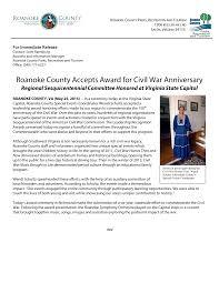 Roanoke County Accepts Award for Civil War Anniversary