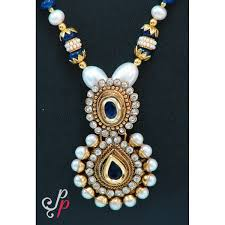 traditional pearl necklace in blue stone pendant