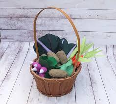 fresh market felt vegetables vegetable basket pretend food