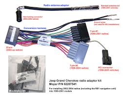 jeep grand cherokee wj factory navigation system using the chrysler wiring adaptor harness part 82207541 the