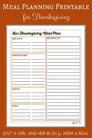 Thanksgiving Menu Meal Planning Free Printable