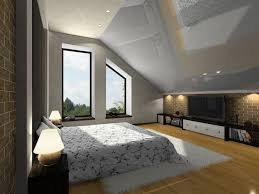 light wooden bedroom furnitures modern light. Bedroom With Sloping Ceiling, Large Windows, TV And Light Wood Floor One Brick Wooden Furnitures Modern