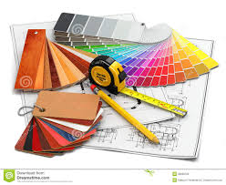 Interior design blueprints Castle Interior Design Architectural Materials Tools And Blueprints Dreamstimecom Interior Design Architectural Materials Tools And Blueprints Stock
