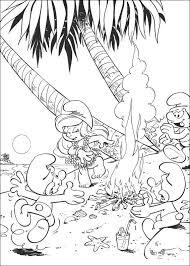 Kids N Fun Kleurplaat Smurfen Zomer Op Het Strand