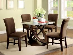 marvelous brown dining table set with comfort chairs and decorative flowers on round glass table with chains wood leg