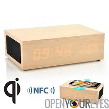 qi wood box charger wifi alarm clock bluetooth speaker supports nfc iphone