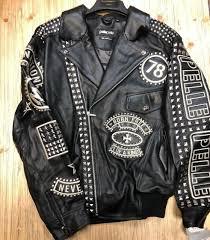 pelle pelle black cabernet american rebel leather jacket size 56 for
