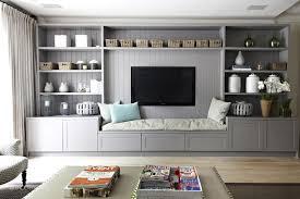 wall units tv shelf unit media unit modern cottage family rooom with grey wall shelving
