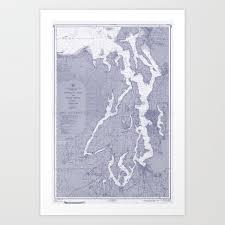 Puget Sound Washington State Nautical Chart Map Print 1956 Blue Map Art Prints Art Print By Chartedwaters
