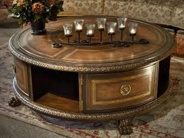 antique round brown teak wood coffee table with storage shelf mesmerizing round coffee tables with