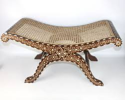 Bone Inlay Stool Handcrafted in India Upholstered Seat Cane