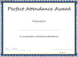 Attendance Certificate Template Perfect Attendance Award Certificate Template Professional Samples 13