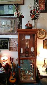 6 2 vintage 3 sided glass 4 side door oak curio cabinet and display case st louis mo