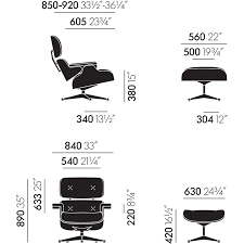 eames lounge chair  ottoman (new larger dimensions)  tojo