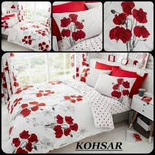 details about kohsar poppy fl red printed duvet quilt cover pillowcases bedding set 4 size