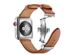 kebitt women men watch band compatible with apple watch series 4 3 2 1 wear genuine leather iwatch 4 bands double needle metal erfly buckle folding
