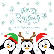 cute penguin christmas backgrounds. Delighful Christmas Merry Christmas With Snowflakes And Three Penguins On White Background   SeasonsHolidays In Cute Penguin Backgrounds N