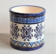 ceramic plant pot blue moroccan