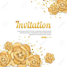 Spring Flower Template Gold Lotus Flower Invitation Banner Spring Flower Invitation