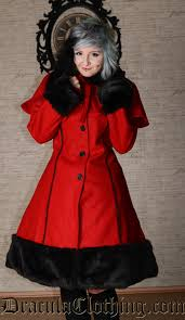thick winter wool coat red satin lining