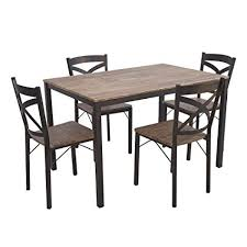 Wooden and metal chairs Dining Room Image Unavailable Amazoncom Amazoncom Dporticus 5piece Dining Set Industrial Style Wooden