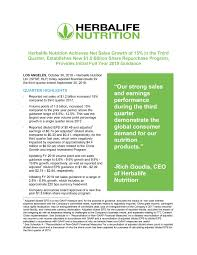 Herbalife Nutrition Achieves Net Sales Growth Of 15 In The
