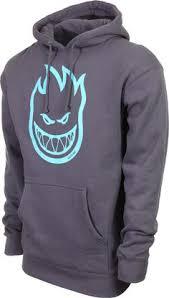 spitfire hoodie green. spitfire bighead pullover hoodie - charcoal/light blue print green