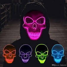 Light Up Skull Mask 2019 Haoxin Halloween Skeleton Mask Led Glow Scary El Wire Mask Light Up Festival Cosplay Costume Supplies Party Mask Mardi Gras From Hnhaoxin 4 37