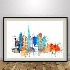 Small Picture Amazoncom Dubai watercolor Dubai UAE Cityscape Art Print
