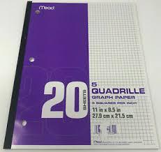 Details About Mead Graph Paper 5 Quadrille 9 Pads Squares Per Inch 11x8 5 20 Sheets Each