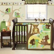 teddy bear crib sheet warm brown tones with soft yellow green and sky blue set the stage