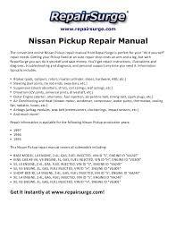 nissan pickup repair manual 1995 1997 repairsurge com nissan pickup repair manual the convenient online nissan pickup repair manual