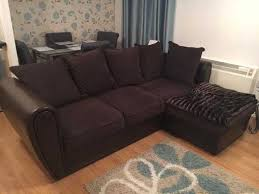lovely quality brown chenille amp faux leather corner sofa