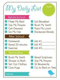 Daily Chore Chart Ideas Printable Weekly Chore Chart Kids Daily List And Chore