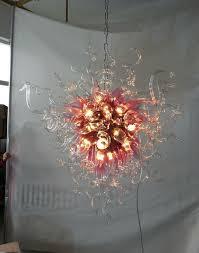 elegant the art of lighting. Elegant Art Glass Chandelier Pink Shade Clear 100% Hand Blown Lighting The Of E