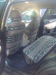 2017 subaru outback back seats with green aztec seat covers