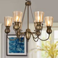 6 light copper iron modern chandelier with glass shades hkp31252 6