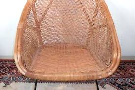 D Dish Chair Vintage Mid Century Modern Wicker Saucer Iron Urban  Outfitters Cushion Ikea