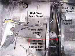 356 porsche technical articles installing a wiring harness part i feed each circuit accordingly both the high low beam and stop light circuits are feed through the large rubber grommet in the diagonal bracing