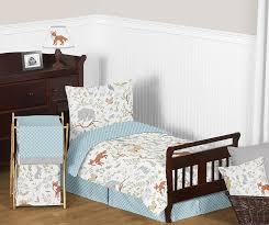 blue grey and white woodland deer fox bear animal toile boy or girl 5 piece toddler kids childrens bedding comforter sheet set com