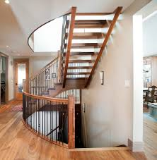 Craftsman Staircase painted newel post staircase craftsman with walnut stairs calgary 3357 by xevi.us