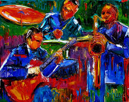 abstract jazz colorful painting trio instruments paintings fine art by debra hurd
