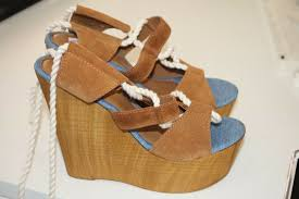 details about women s steve madden blue brown fabric suede 5 5 wood heel sandals sz 11 nwot