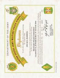 United States Army Military Police School U S Army Military Police Diploma