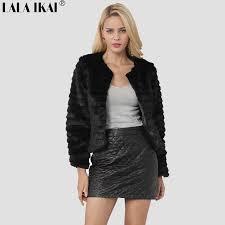 women winter short hair faux fur coat long sleeve solid color black white pink coffee plus