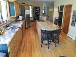 Contrasting Oak And Green Maple Kitchen W An Island Granite Tops