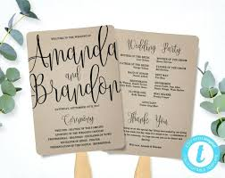 wedding program fan template calligraphy script printable instant ceremony paper free diy fans