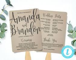 wedding program fan template calligraphy script printable instant ceremony paper free diy fans