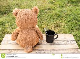 Bear Coffee Table Teddy Bear Toy On The Table With Cup Of Coffee Stock Photo Image